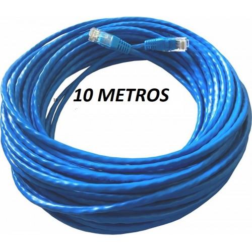Patch cord cat5 Utp Injetado rj45/rj45 montado 10mts azul