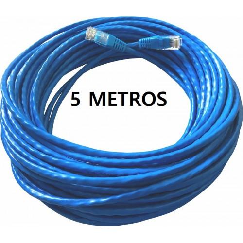 Patch cord  cat5 Utp Injetado rj45/rj45 montado  5mts  Azul