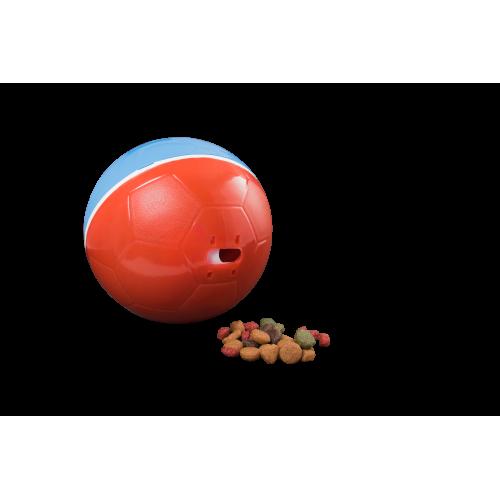 Comedouro Brinquedo Cães e Gatos Crazy Ball Vermelho/ Azul