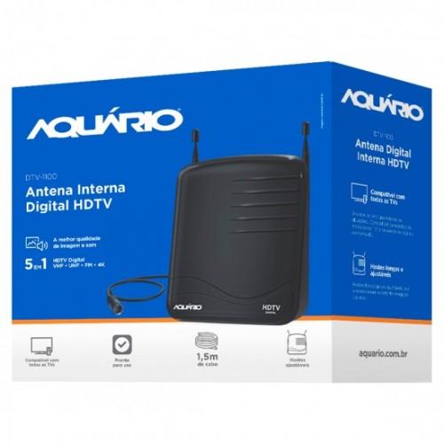 Antena Interna Digital HDTV VHF UHF FM 4K Aquário DTV-1100
