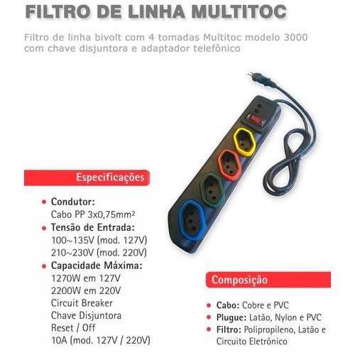 FILTRO LINHA 4 TOMADAS+CHAVE DISJUNTORA  MOD 2000