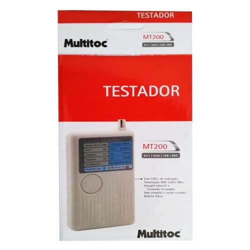 Testador De Cabos Rj45 Rj11 Bnc Mt200 Multitoc