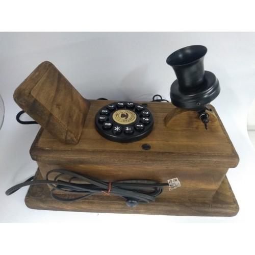 Telefone Antigo em Madeira de Parede Retrô
