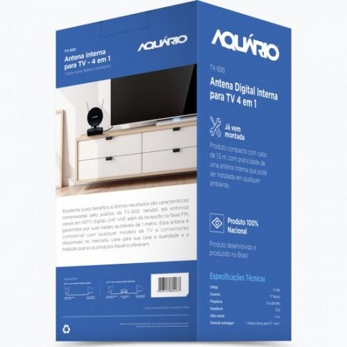 Antena Interna HDTV 4K 5 Em 1 Tv 500 Aquario
