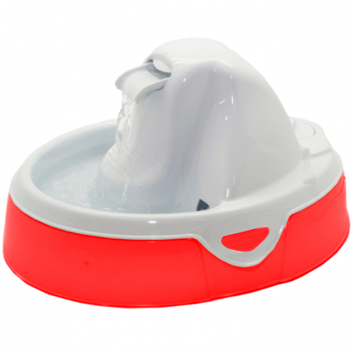 Fonte Bebedouro Aqua Flow Amicus para Cães e Gatos Branco/Vermelho