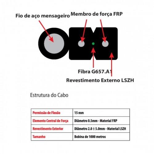 Cabo Fibra Óptica Drop 2fo 1000m Mensageiro Mono Nanofiber