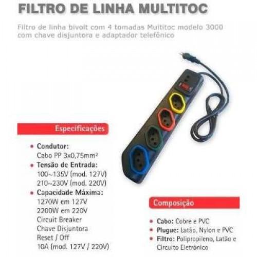 FILTRO LINHA 4 TOMADAS+CHAVE DISJ E ENTRADA RJ11  MOD 3000