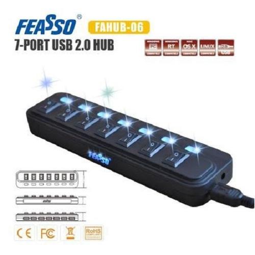Hub USB 7 Portas USB 2.0 com led Fahub-06 Feasso
